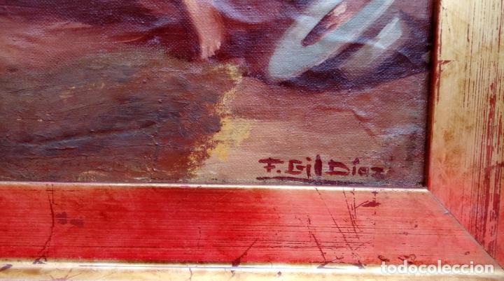 Arte: ÓLEO S/LIENZO, MUY BIEN ENMARCADO, DE FÉLIX GIL DÍAZ, PINTOR DE MÁLAGA. DIM.- 52X46 CMS. - Foto 7 - 198325247