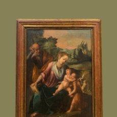 Arte: SAGRADA FAMILIA CON SAN JUANITO, ESC. ITALIANA, CIRCA 1600. Lote 198336605