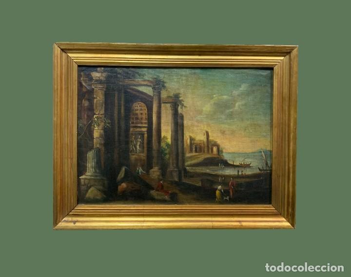 PAISAJE CON RUINAS, ESC. ROMANTICA ESPAÑOLA (Arte - Pintura - Pintura al Óleo Moderna siglo XIX)