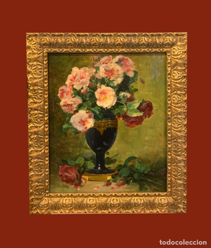 GRAN FLORERO FIRMADO IRENE REYMOND, ESC. FRANCESA (Arte - Pintura - Pintura al Óleo Moderna sin fecha definida)