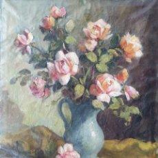 Arte: ANTONI VIDAL ROLLAND (BARCELONA, 1889-1970) - JARRON CON ROSAS.OLEO/TELA.FIRMADO.. Lote 198227718