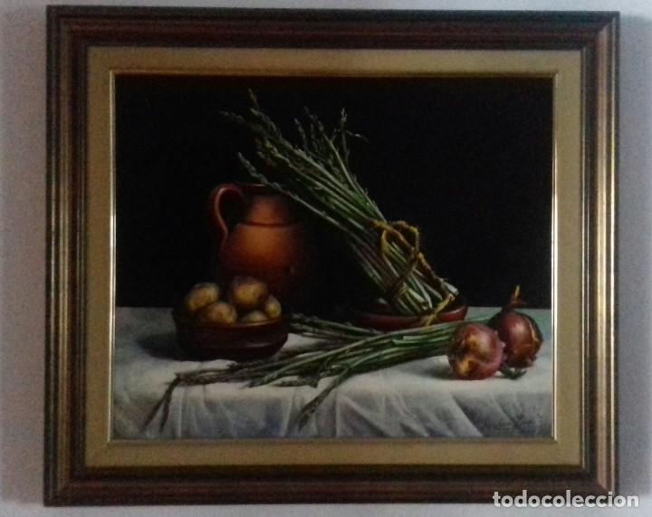 JOLOGA. BODEGÓN DE ESPÁRRAGOS. 65X54. F15.CON MARCO. (Arte - Pintura - Pintura al Óleo Contemporánea )