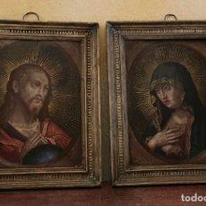 Arte: PAREJA DE COBRES - RENACIMIENTO ESPAÑOL - VIRGEN Y JESUCRISTO - 1500 - DE MUSEO.. Lote 198572782
