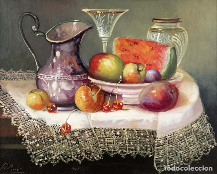 ROBERTO MICHEL - BARCELONA 1.944 ÓLEO SOBRE LIENZO - NATURALEZA MUERTA - ENMARCADO. (Arte - Pintura - Pintura al Óleo Contemporánea )