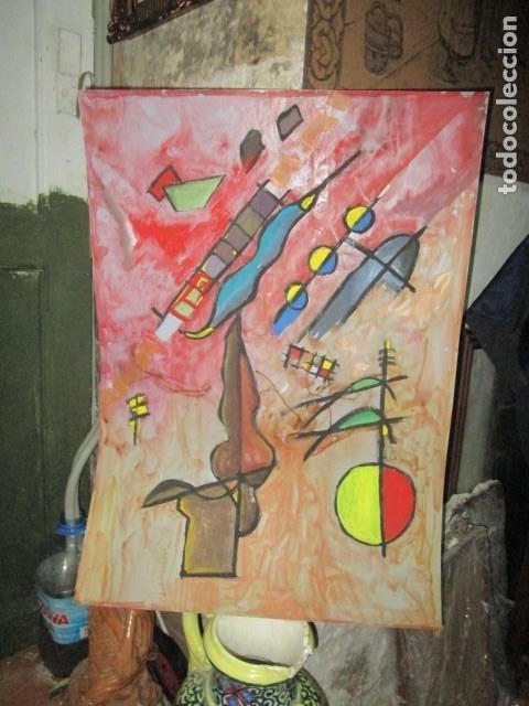 PINTURA ANTIGUA OLEO SOBRE CARTON SURREALISTA 70 X 50 CMS SURREALISMO ABSTRACTO CUBISTA (Arte - Pintura - Pintura al Óleo Moderna sin fecha definida)