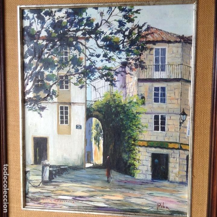PINTURA AL ÓLEO J. RIBA (PUERTA DE MAZARELOS, SANTIAGO DE COMPOSTELA) (Arte - Pintura - Pintura al Óleo Contemporánea )