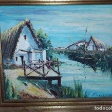 Arte: ÓLEO SOBRE LIENZO ENMARCADO A. ROCAMORA BARRACAS EN LA ALBUFERA VALENCIA BONITO. Lote 199239166
