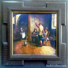 Arte: PINTURA FLAMENCA AL OLEO S/COBRE,REPRESENTA,TABERNA CON PERSONAJES Y TABERNERA, 40 X 36 CM.ENMARCADO. Lote 199250031