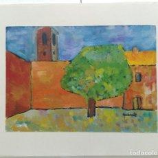 Arte: JOAN QUERALT DE QUADRAS (1.947) - ÓLEO PLAÇA DE POBLE (LLUÇANÈS) - 1.999 - 32 X 23. Lote 199274748