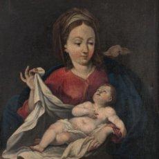 Arte: ESCUELA ESPAÑOLA, SIGLO XVIII - VIRGEN CON EL NIÑO - ÓLEO/LIENZO - 97 X 83 CMS.. Lote 199356581