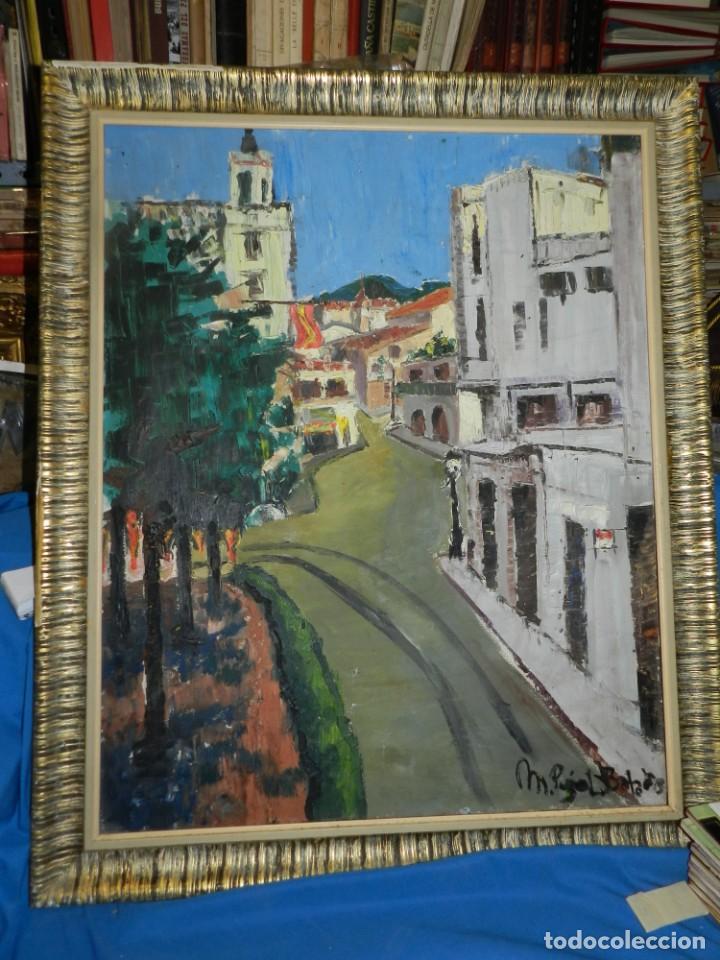Arte: (M) ÓLEO FIRMADO MANEL PUJOL BALADAS 1947 - FATIMA NUM.7 BARCELONA, ENMARCADO, 93X77CM - Foto 2 - 199358726