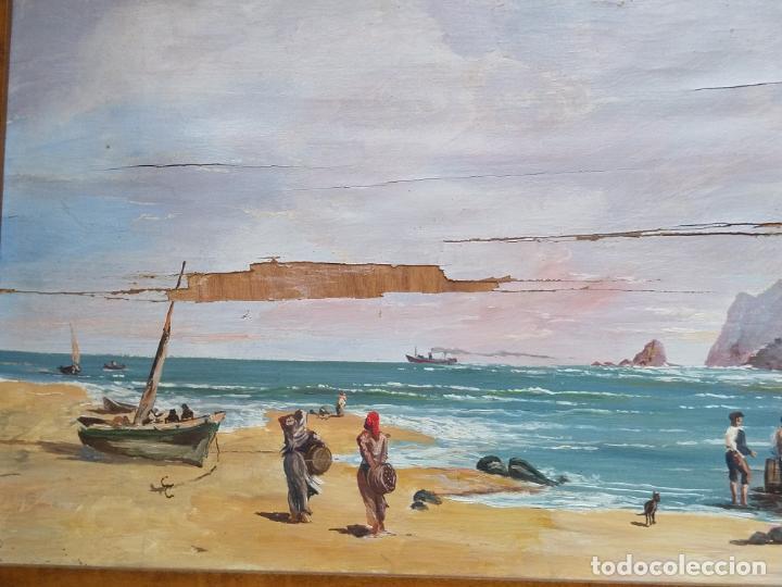 Arte: Magnífica marina del pintor - Francisco Jiménez de Córdoba --- NECESITA RESTAURACIÓN --- - Foto 14 - 199465366