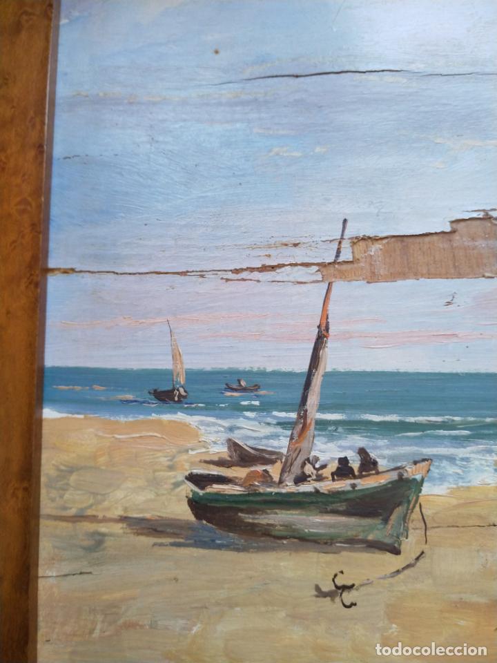 Arte: Magnífica marina del pintor - Francisco Jiménez de Córdoba --- NECESITA RESTAURACIÓN --- - Foto 34 - 199465366