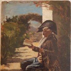 Arte: J. LÓPEZ - CABALLERO LECTOR EN UN PAISAJE. Lote 199574980