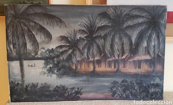 Arte: ESCUELA COLONIAL (LA MARTINICA) AÑOS 40-50, PESCADORES Y CASAS CRIOLLAS,ÓLEO / TABLA E,H, 47 x 77´50 - Foto 9 - 195688221
