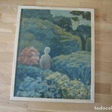 Arte: OLEO EN TABLERO, MUJER PASEANDO POR M.CALVET . Lote 199648633