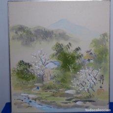 Arte: OLEO CHINO SOBRE CARTULINA.CON SELLO.. Lote 199676835