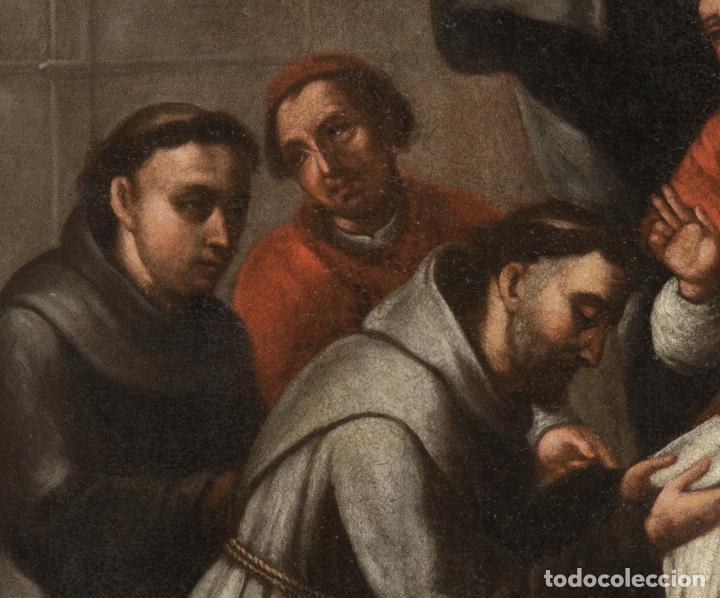 Arte: Óleo lienzo San Buenaventura, superior general de los Franciscanos. Escuela Sevillana S. XVII - Foto 5 - 196572785
