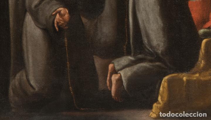 Arte: Óleo lienzo San Buenaventura, superior general de los Franciscanos. Escuela Sevillana S. XVII - Foto 6 - 196572785