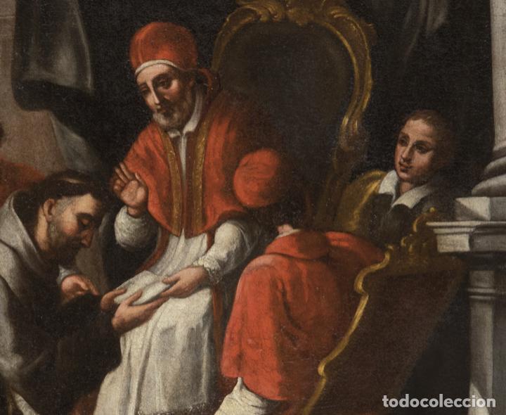 Arte: Óleo lienzo San Buenaventura, superior general de los Franciscanos. Escuela Sevillana S. XVII - Foto 8 - 196572785