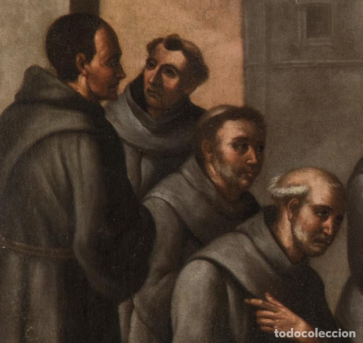 Arte: Óleo lienzo San Buenaventura, superior general de los Franciscanos. Escuela Sevillana S. XVII - Foto 9 - 196572785