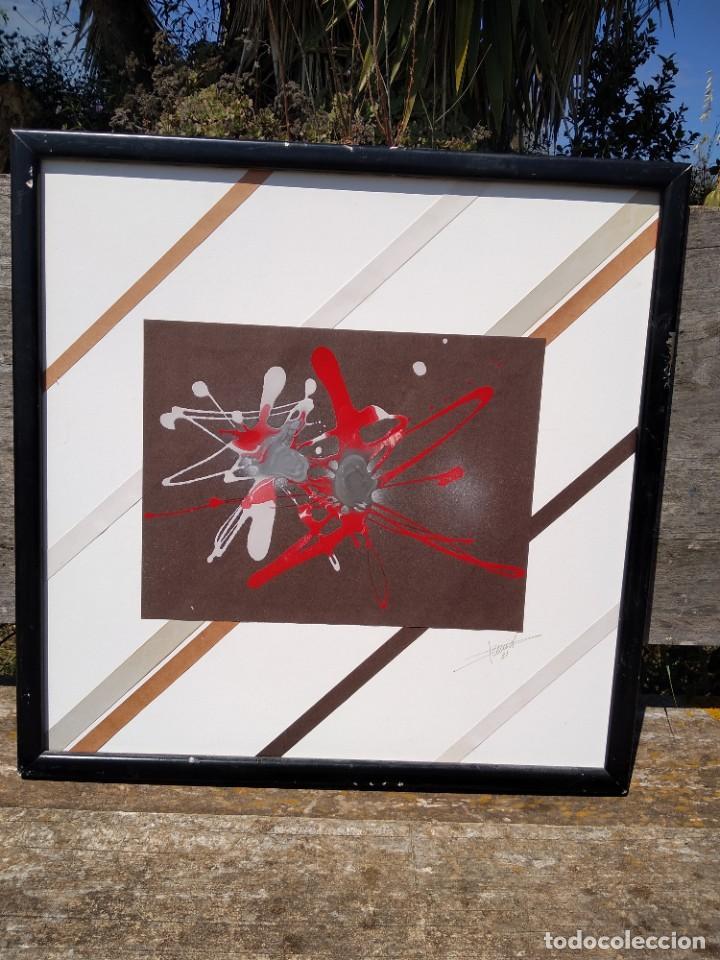 Arte: oleo abstracto sobre papel - Foto 2 - 199732381