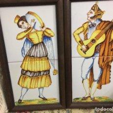 Arte: DOS PINTURAS ESMALTADAS SOBRE AZULEJOS DE ARCILLA ROJA. DOBLE COCCIÓN. MEDIDAS 18X33 CMS. APROX.. Lote 199762298