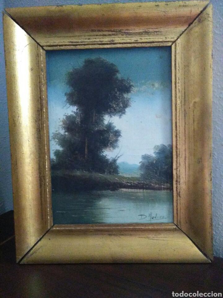 Arte: Pareja de pinturas oleos sobre carton ,bonitos paisajes principio de siglo XX firmados medina - Foto 2 - 199834732