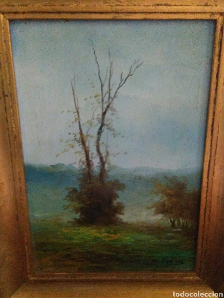 Arte: Pareja de pinturas oleos sobre carton ,bonitos paisajes principio de siglo XX firmados medina - Foto 3 - 199834732