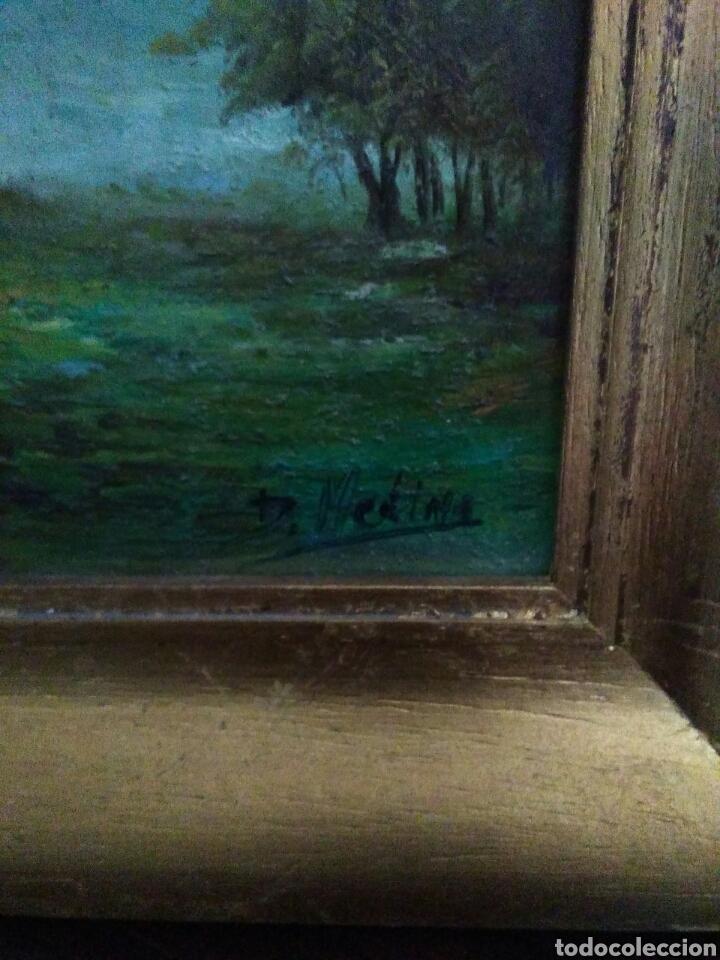 Arte: Pareja de pinturas oleos sobre carton ,bonitos paisajes principio de siglo XX firmados medina - Foto 6 - 199834732