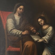 Arte: EXTRAORDINARIO ÓLEO SOBRE LIENZO. GRAN TAMAÑO. SIGLO XVII. SANTA ANA ENSEÑANDO A LEER A LA VIRGEN.. Lote 199882332