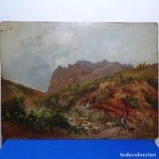 Arte: EXCELENTE ÓLEO SOBRE CARTÓN DE JOSEP ARRAU I BARBA( BCN 1802-1872).PASTOR CON OVEJAS.. Lote 199889636