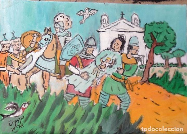 ROCÍO .-LOS CRISTIANOS HUYEN CON LA VIRGEN ,ÓLEO SOBRE LIENZO 29,7X42 CM.,AUTOR CRESPO (Arte - Pintura - Pintura al Óleo Antigua siglo XVII)