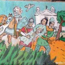 Arte: ROCÍO .-LOS CRISTIANOS HUYEN CON LA VIRGEN ,ÓLEO SOBRE LIENZO 29,7X42 CM.,AUTOR CRESPO. Lote 199891073