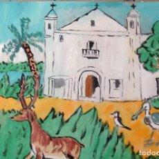 Arte: ROCÍO.-PRIMERA ERMITA DEL ROCÍO,ÓLEO SOBRE LIENZO 29,7X42 CM. AUTOR CRESPO . Lote 199891136