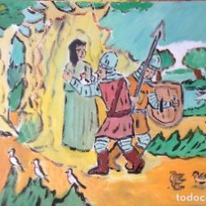 Arte: ROCÍO.-LOS SOLDADOS ESCONDEN LA VIRGEN ,ÓLEO SOBRE LIENZO 29,7X42 CM. AUTOR CRESPO. Lote 199891172