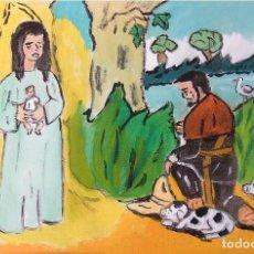 Arte: ROCÍO.-EL CAZADOR ORA A LA VIRGEN ENCONTRADA EN LA ROCINA,ÓLEO LIENZO 29,7X42 CM. AUTOR CRESPO. Lote 199891300