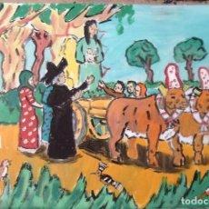 Arte: ROCÍO LOS ALMONTEÑOS SE LLEVAN A LA VIRGEN,29,7 ÓLEO LIENZO AUTOR CRESPO. Lote 199891500