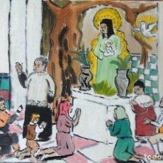 Arte: ROCÍO.-LA VIRGEN EN LA ERMITA CON EL ÁRBOL POR DOSEL,ÓLEO LIENZO 29,7X42 CM. AUTOR CRESPO. Lote 199891521