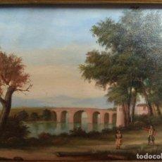 Arte: CUADRO OLEO SOBRE TABLEX ESCUELA INGLESA ANTIGUO FIRMADO CON MARCO DORADO MUY IMPORTANTE. Lote 199908860