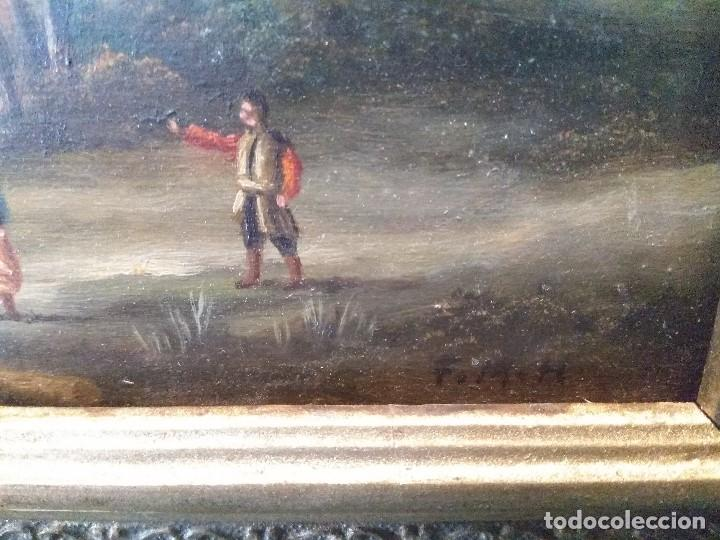 Arte: CUADRO OLEO SOBRE TABLA ESCUELA INGLESA ANTIGUO FIRMADO CON MARCO DORADO MUY IMPORTANTE - Foto 9 - 199908860