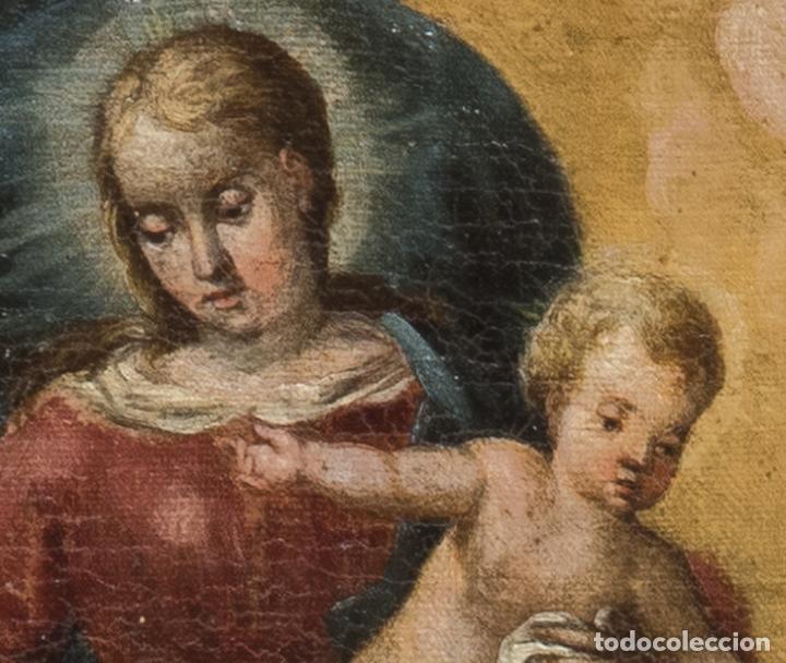 Arte: Óleo lienzo Virgen del Rosario de Pompeya Sta Catalina de Siena y Sto Domingo Escuela española XVII - Foto 5 - 196774956