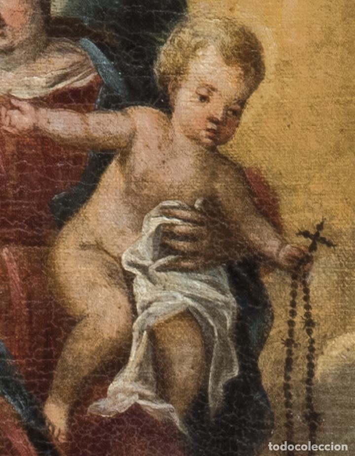 Arte: Óleo lienzo Virgen del Rosario de Pompeya Sta Catalina de Siena y Sto Domingo Escuela española XVII - Foto 6 - 196774956