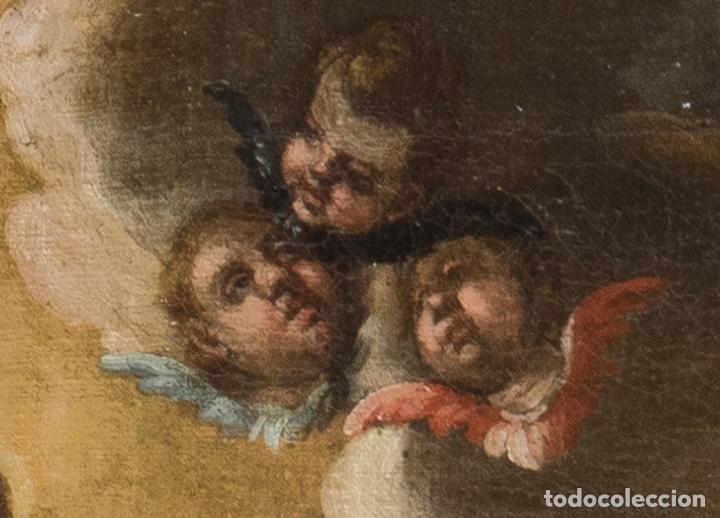 Arte: Óleo lienzo Virgen del Rosario de Pompeya Sta Catalina de Siena y Sto Domingo Escuela española XVII - Foto 7 - 196774956