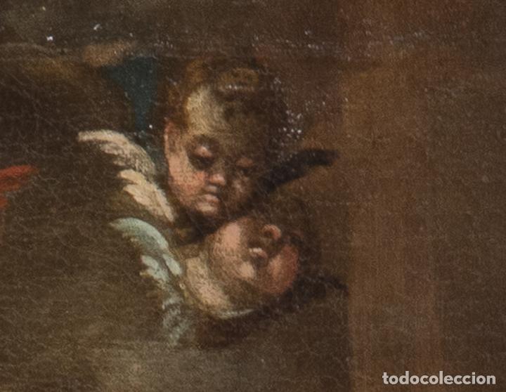 Arte: Óleo lienzo Virgen del Rosario de Pompeya Sta Catalina de Siena y Sto Domingo Escuela española XVII - Foto 8 - 196774956