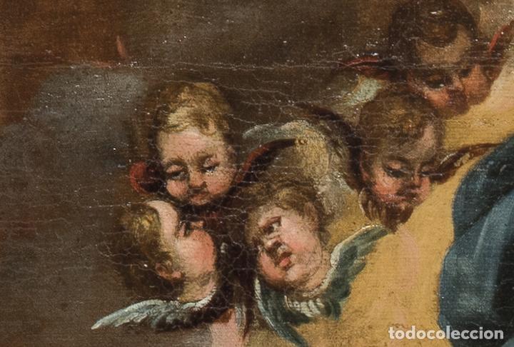 Arte: Óleo lienzo Virgen del Rosario de Pompeya Sta Catalina de Siena y Sto Domingo Escuela española XVII - Foto 9 - 196774956