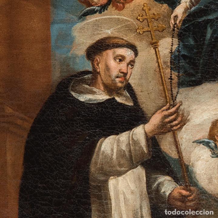Arte: Óleo lienzo Virgen del Rosario de Pompeya Sta Catalina de Siena y Sto Domingo Escuela española XVII - Foto 10 - 196774956