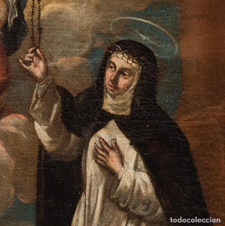 Arte: Óleo lienzo Virgen del Rosario de Pompeya Sta Catalina de Siena y Sto Domingo Escuela española XVII - Foto 11 - 196774956