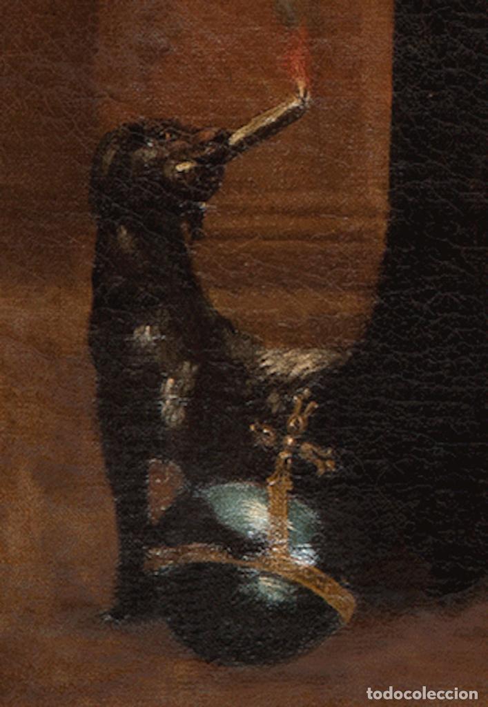 Arte: Óleo lienzo Virgen del Rosario de Pompeya Sta Catalina de Siena y Sto Domingo Escuela española XVII - Foto 12 - 196774956