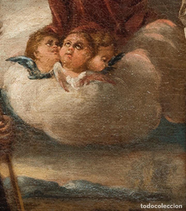 Arte: Óleo lienzo Virgen del Rosario de Pompeya Sta Catalina de Siena y Sto Domingo Escuela española XVII - Foto 13 - 196774956